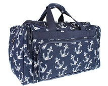 Navy Blue Anchor nautical Duffel bag for craft supplies or travel luggage