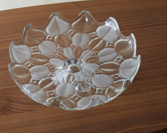 Beautiful large flowers bowl glass bowl dish vintage 60s