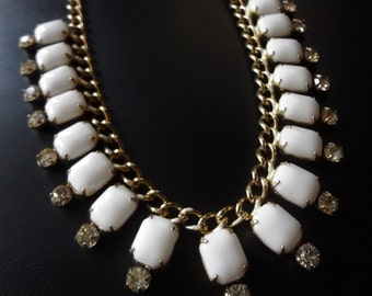 Milk Glass Necklace Choker with Clear Rhinestones