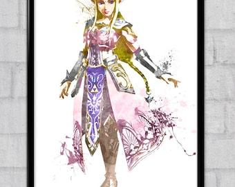 The Legend of Zelda: Princess Zelda Watercolor print/poster, wall art