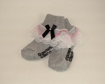Lace Baby Socks-Grey