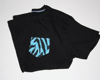 Blue tiger strip pocket tee