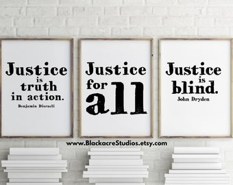 Lawyer Gift - Lawyer Art - Lawyer - Justice Print Set - Law School Graduation Gift - Inspirational Quotes - Law School - Wall Decor