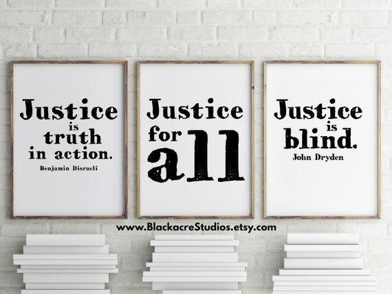 Quotes About Law School: Justice Print Set Law School Graduation Gift Inspirational