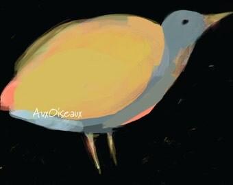 Oiseau gris, jaune, orange, dessin numérique original, impression de qualité, type giclée. Cadre non-inclus.