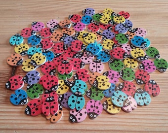 Wooden Ladybug Buttons x 10