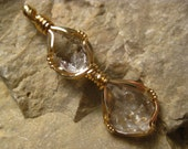 Double Herkimer Diamond Pendant Wire Wrapped in 14k Gold Filled Wire