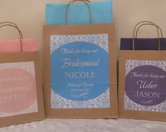 Personalised medium wedding favour gift bag (medium available on other listing)