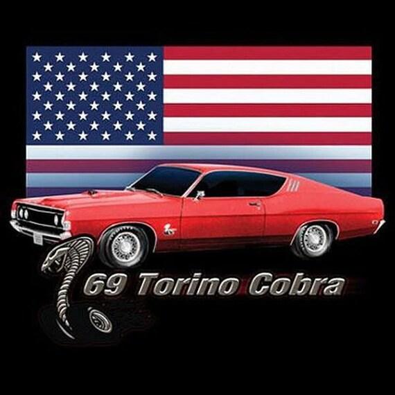 Ford 1969 Gran Torino Cobra Car Mens T Shirt 1001D2