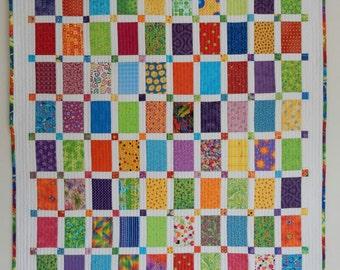 """Bright Modern Scrappy Quilt - 44"""" x 54"""""""