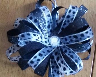 Black Glitter and Leopard print Bow, rhinestone, leopard, Hair Bow, Glitter Bow, barrette, Children's accessory, adult hair accessory