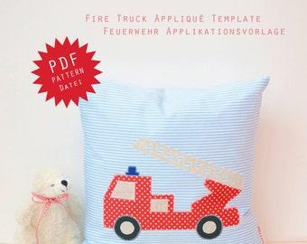 PDF Applique Template - Fire Truck