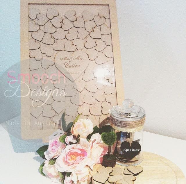 50th Birthday Signature Photo Frame: MDF Drop Box Frame With Hearts Alternative Wedding
