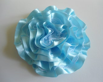Satin & Lace Flower Hair Clip, Lavender,Blue,Ivory or White,  Handmade, Two Layers Satin and Lace Ruffled Hair Clip for BabyToddler Girls