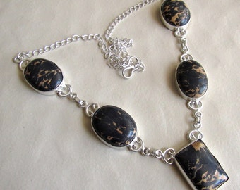 Black Jasper Necklace, Statement Necklace, Gemstone Necklace, Bib Necklace, Silver Necklace