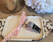 Pink & gold ribbon blinged whistle