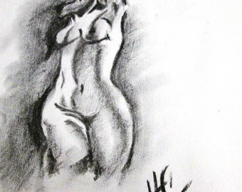 Mother Nature, Charcoal Drawing Original - Figurative black and white  by HC Artist.