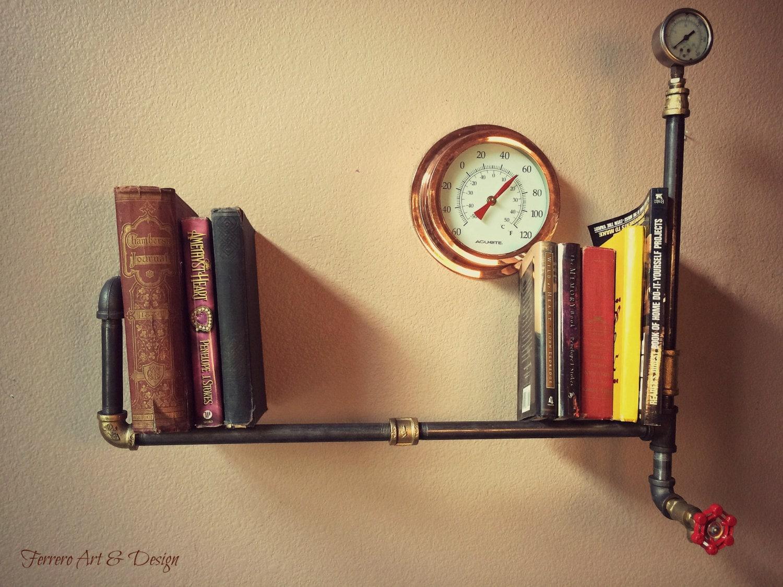 wall shelf wall decor steampunk shelf by ferreroartdesign on etsy. Black Bedroom Furniture Sets. Home Design Ideas