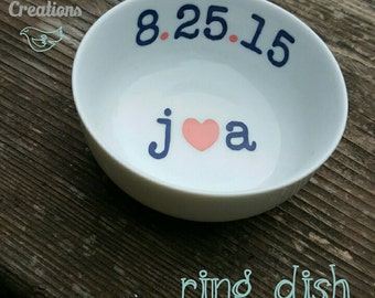 Wedding Date and Initials Ring Dish