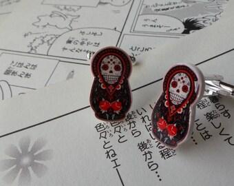 Russian Doll Sugar Skull Cufflinks / Earrings - Tattoo Dia Los Muertos Rockabilly Wedding