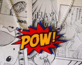 POW Necklace - Rockabilly Vintage 50s Pin Up Comic Book Anime Manga Super Hero