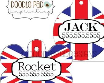 British Flag pet ID tag, Brexit Dog ID tag