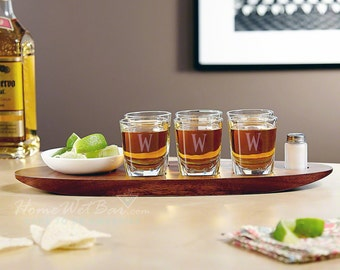 Tequila Pro Shot Glass Set Party Serving Tray