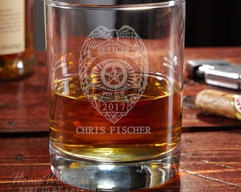 Police Badge Personalized Whiskey Glass - Eastham Glass Perfect for Whiskey Lovers - Retirement and Graduation Gifts for Police Officers