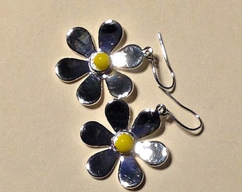 Earrings, Silver Daisies with Fused Glass Center, Gift for Girls, GIft for Women, Stocking Stuffer, Holiday Gift