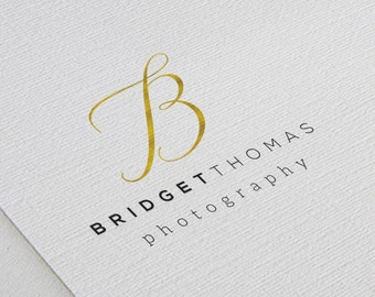 Minimalist Photography Logo Design, Golden foil Initial, Black Font, Simple, Elegant, Signature Script