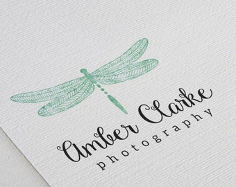 Premade Logo Design / Watercolor Emerald Dragonfly, Script Font, Photography, Customizable