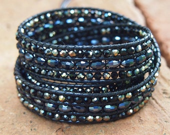 3 times Crystal wrap bracelet with black cord, Boho bracelet, Bohemian bracelet, Beadwork bracelet