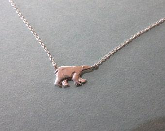 Polar bear necklace, Bear charm necklace, Sterling Silver bear necklace,