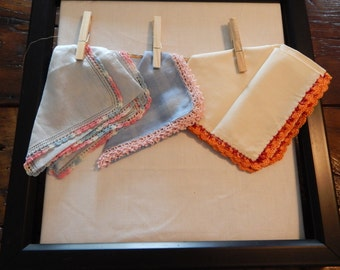 Three Handkerchiefs - Crocheted Edge