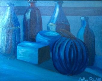 """Blue Bowls, 11"""" x 10"""", Acrylic"""
