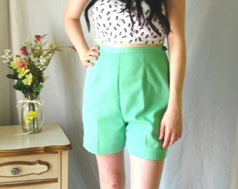 1960's Catalina End O' Press pleated high-waisted shorts, Grass green