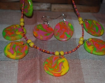 Polymer Clay o.o.a.k. necklace with earrings