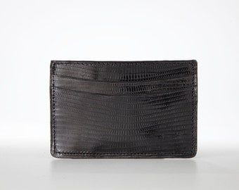 Genuine, Authentic Lizard Skin Card Holder / Mini Wallet / Business Card Holder