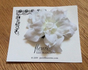 WHITE Beautiful and Fun Silky Floral Bloom Flower Hairclip... Wedding... Bridal... Bridesmaids... VLV... Anytime Hair Clip
