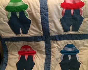 Little boy in overalls. Dimesions of quilt: Fits full bed.  Hand-made with love in a smoke and pet free home.