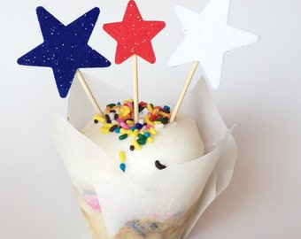 Star cupcake toppers USA 4th of July Memorial Day Party red white and blue Set of 12