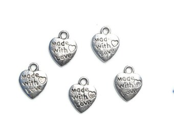 12 made with love charms | silver charms | bracelet charms | jewelry supplies | earring charms | Christmas charms | holiday charms | SC197