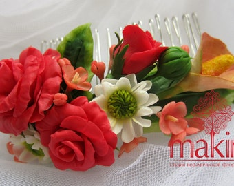 Bridal flower comb - red roses. Autumn blossom hair comb - Wedding flower comb - Flower comb. Bridal comb. Flower hair accessory