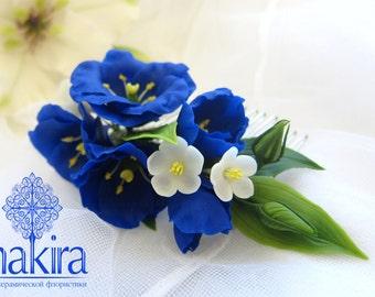 Blue eustoma, blossom hair comb - Bridal flower comb - Wedding flower comb - Flower comb. Bridal comb. Flower hair accessory