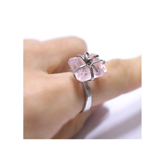 pink quartz silver ring handcraft ring