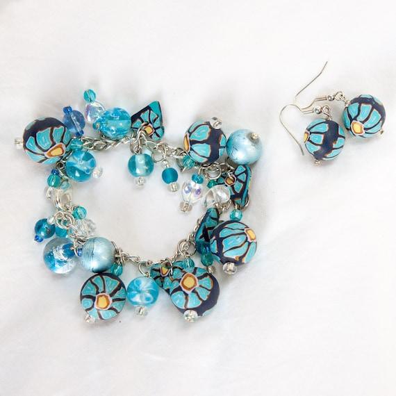 Beaded bracelet, bracelet, jewellery, polymer clay, jewellery set, handmade, ooak jewellery, earrings, blue, turquoise, gift for her, charm