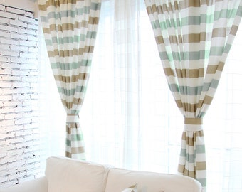 Wide stripe curtains | Etsy