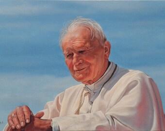 "Pope John Paul II: Serenity / Папа Іван Павло II - Ясність - painting, oil on canvas, 40 x 60 cm / 15.7"" x 23.6"""