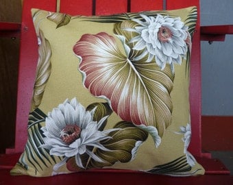 Night Blooming Cereus in Celery-Made in Hawaii-100% cotton Barkcloth Pillow Cases