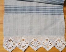 Vintage Linen And Hemp Towel , Antique Crocheted Lace Towel , Vintage Crochet Lace Hemp Towel ,  Light Blue Long Hemp Towel , Cottage Chic